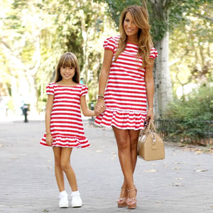 7a3b4586ab Mother & kids Mom and daughter dress red and white cross striped Short  sleeve Lotus hem