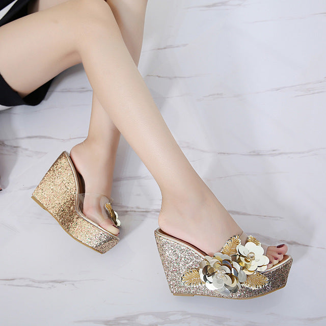 56a8ed5b3cd Heels - Transparent Wedge Sandals Sequins - Gold   7 for sale in ...