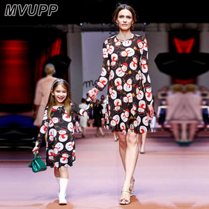467c244914 MVUPP Christmas style mother daughter dresses Fashion Snowman Print Round  Collar Long-sleeve Family Matching
