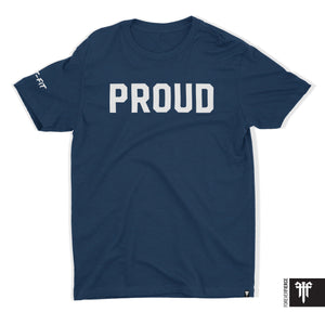 Signature Proud T - White on Navy (XS & S Only)