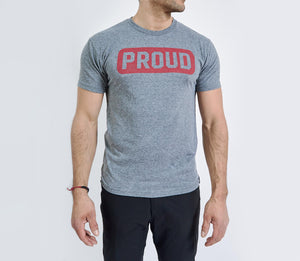Proud Stamp - Red on Grey