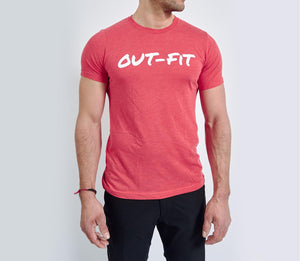 OUT-FIT Logo T - White on Red
