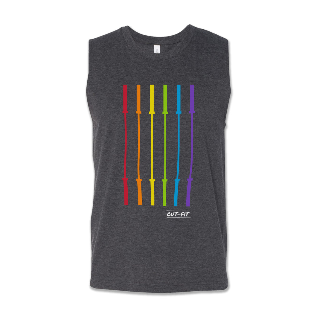 OUT-FIT Barbell Flag Muscle Tank - Heather Grey