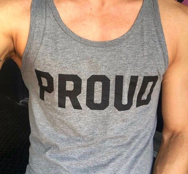Signature Proud Tank Top - Black on Grey