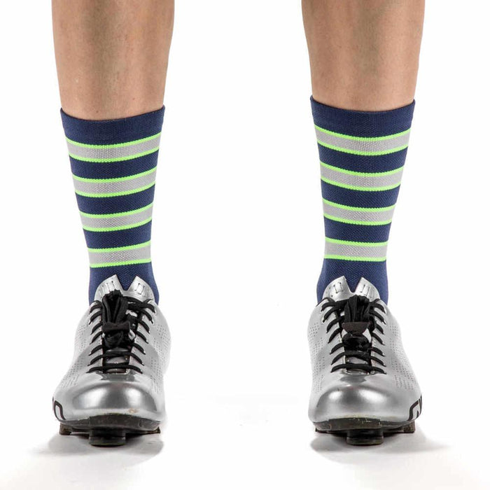 The TORCH - Navy Blue and Neon Lime Striped Socks