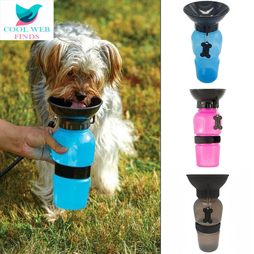 Squeezable Dog Water Bottle with Bowl Top