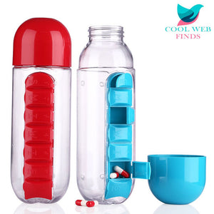 Daily Pill Box with Water Bottle & Cup Top