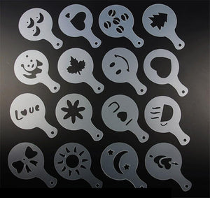 16 Piece Coffee, Latte, Cappuccino, ETC Barista Art Stencils