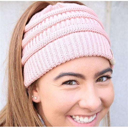 Knitted Soft Slouch Ponytail Beanie