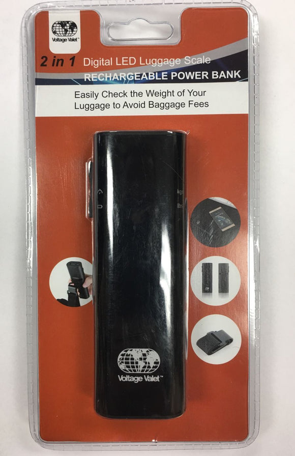 Voltage Valet - Digital LED Luggage Scale w/Power Bank (TS-023BK)