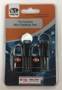 Voltage Valet - TSA Accepted Mini-Pad Lock Set (TSA21011-BK)