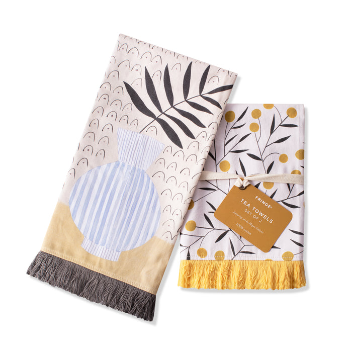 FRINGE STUDIO SERENE VASE TEA TOWEL SET