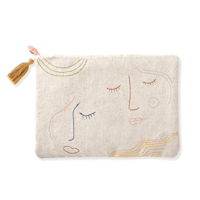 FRINGE STUDIO STITCHED FACES POUCH