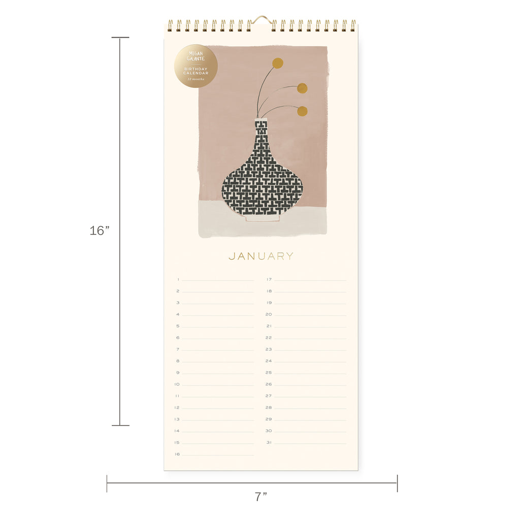 FRINGE STUDIO STILL LIFE BIRTHDAY WALL CALENDAR