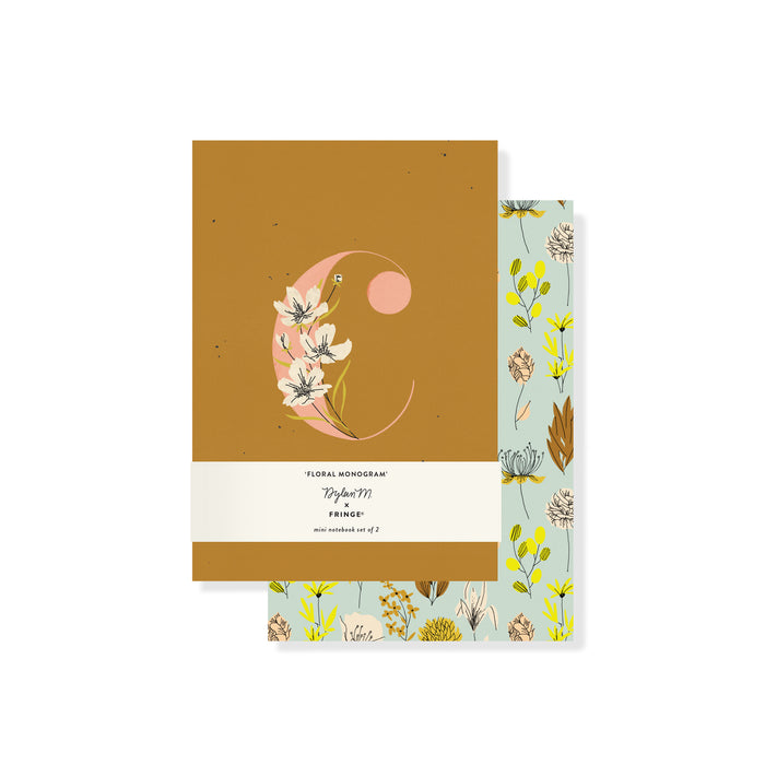 "FRINGE STUDIO MONOGRAM FLORAL ""C"" MINI JOURNAL SET"