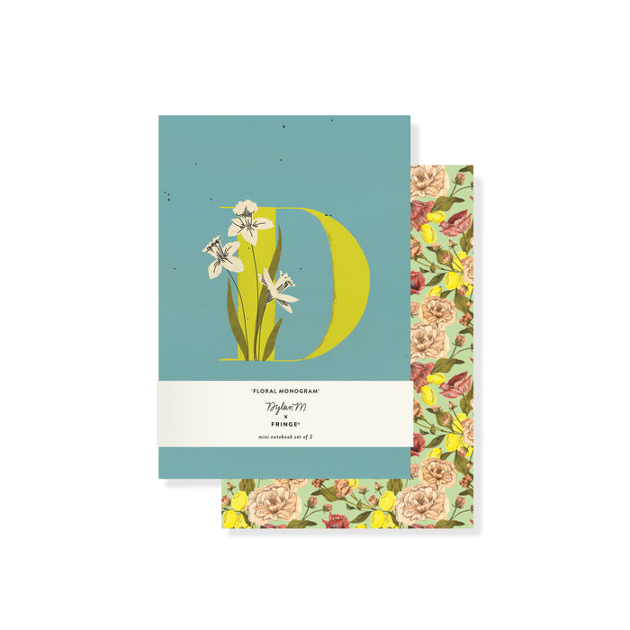 "FRINGE STUDIO MONOGRAM FLORAL ""D"" MINI JOURNAL SET"