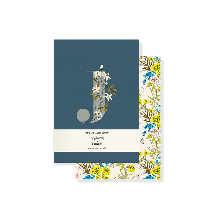 "FRINGE STUDIO MONOGRAM FLORAL ""J"" MINI JOURNAL SET"
