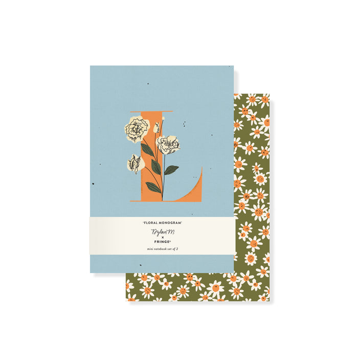 "FRINGE STUDIO MONOGRAM FLORAL ""L"" MINI JOURNAL SET"