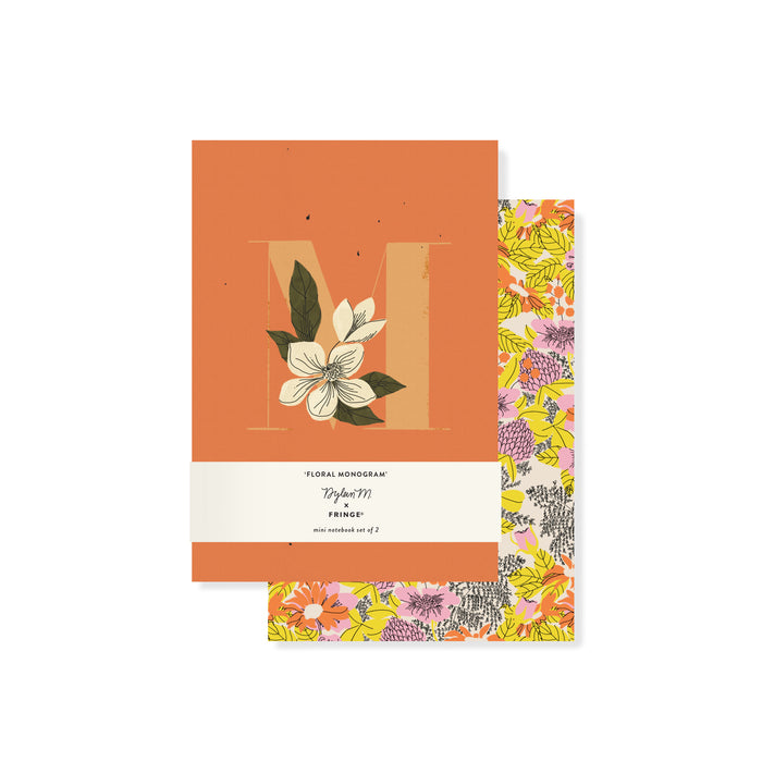 "FRINGE STUDIO MONOGRAM FLORAL ""M"" MINI JOURNAL SET"