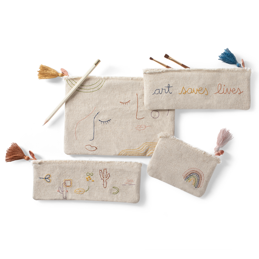 FRINGE STUDIO STITCHED ART SAVES LIVES POUCH