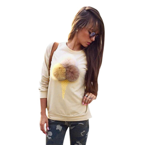 Women Autumn Winter Icecream Fur Balls Sweatshirt Colorful Plush Ball Long Sleeve