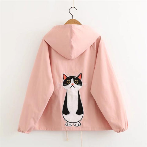 2017 autumn winter jacket women candy color forest cat printed long sleeve hooded cotton women coats Windbreaker jackets tops