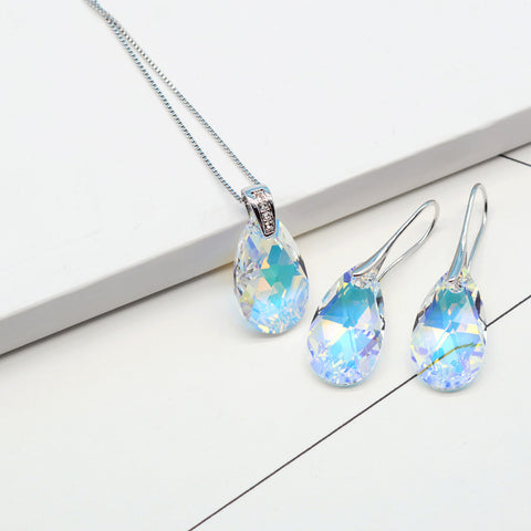 SWAROVSKI White Gold Color Pendant Necklace  Dangle Earrings For Women