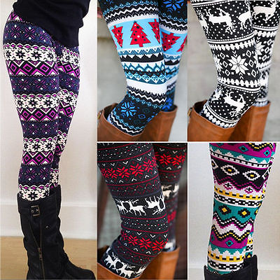 Cotton Womens Xmas Snowflake Reindeer Knitted Warm Winter Knitted High Waist Tight Leggings Pants