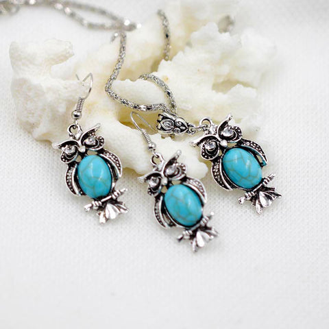 Tibetan Blue Stone Chain Necklace & Pendants Silver Plated Water Drop Shaped Stud Earrings Women Collar