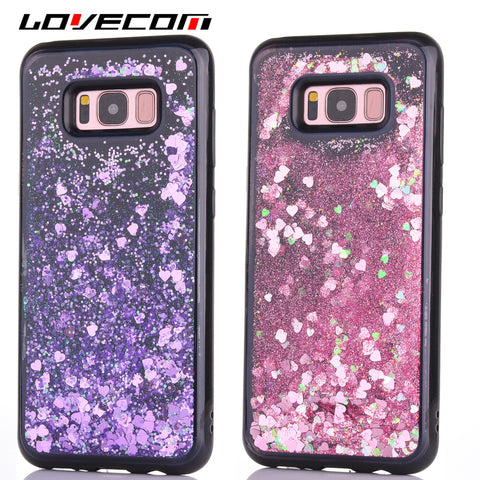 LOVECOM For Samsung S8 S8Plus Shell Love Heart Bling Quicksand Dynamic Liquid Glitter Phone Case Black Side Soft TPU Back Covers