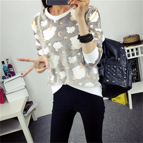 New Arrival Color Stars Print Sweatshirt  Christmas   Winter