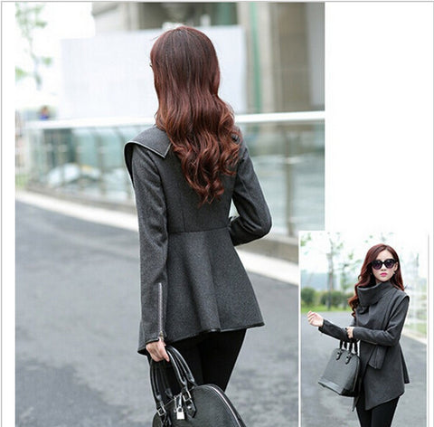 Women Coat autumn Winter Woolen Long Sleeve Overcoat Fashion Trench Woolen CoatS-XXXL