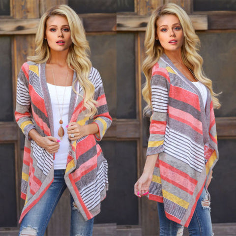 Retro Novelty Women Lady BOHO Ethnic Colorl Wave Stripe Knit Top Blouse Sweater Cardigan Winter Autumn Fashion Hot