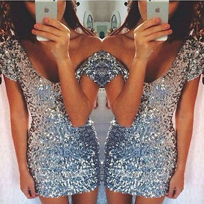 Sexy Women Sequins dresses Summer glitter Sliver Short Sleeve Bodycon Evening Party Mini Dress women Clothing