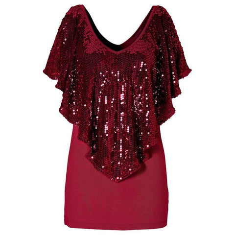 Women  Short Sleeve T Shirt Soft Loose T-Shirts Bling Sequins