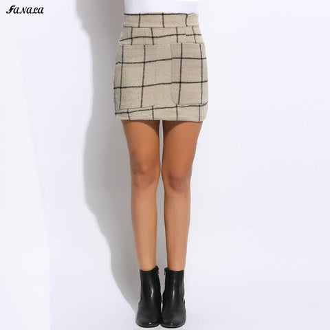 FANALA Sexy Women Skirt 2017 New High Waisted Plaid Pocket Wool Blend Pakage Hip Mini Skirt Spring Winter Skirts Plus Size - galeriachic