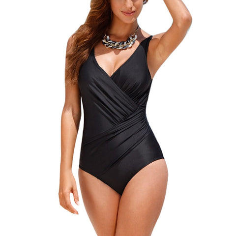 Summer Fashion Women Beachwear Rompers Sexy Sleeveless V-neck Backless Bodysuit Plus Size Retro Vintage Bathing Suit - galeriachic