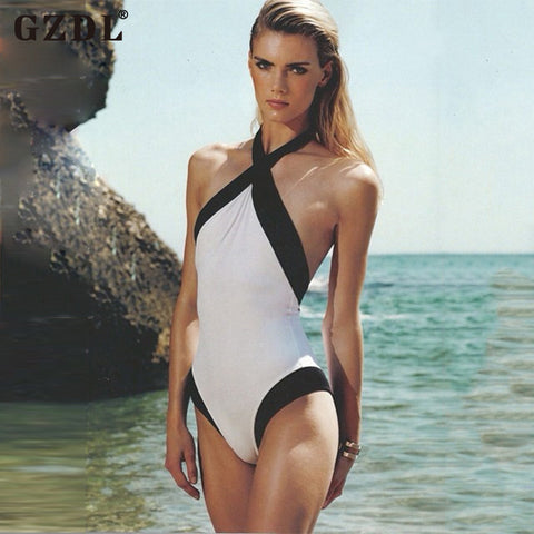 GZDL Women Lady Sexy One Piece Swimsuit Sleeveless Backless Halter Bodycon Summer Beach Wear Tank Top Cami Vest Blusas CL2926 - galeriachic