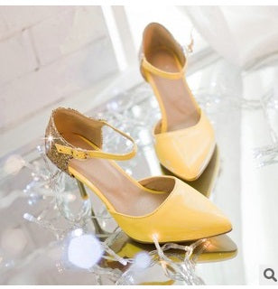 Ladies  Elegant Glitter buckle strap soft Pointed toe thin high heeled