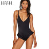 Image of HYH HAOYIHUI Black Ruffles Bodysuit Women V Neck Hollow Out Off Shoulder Swimsuit Sexy Slim Beach Adjustable Straps Bodysuits - galeriachic