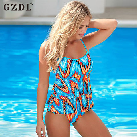 GZDL Sexy Womens Ladies One Piece Spaghetti Strap Backless Floral Bodycon Casual Swimwear Beachwear Tank Vest Tops Blusas CL2903 - galeriachic