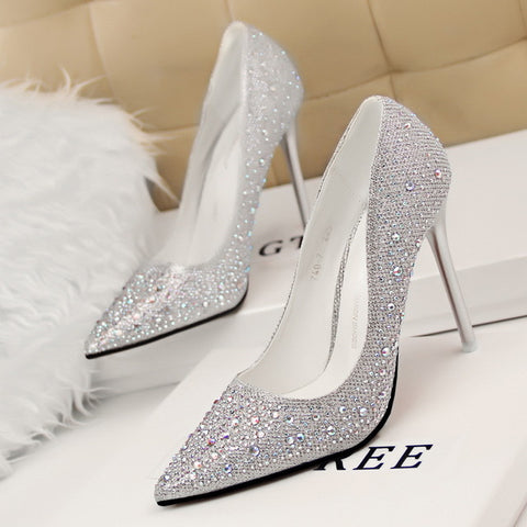Women Crystal Pumps Designer Shoes Women Luxury  Glitter Party