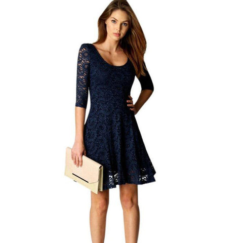 Fashion New Lace Dress 2017 Sexy Lady Women Office Wear Half Sleeve Party Evening Short A-Line Mini Dress - galeriachic