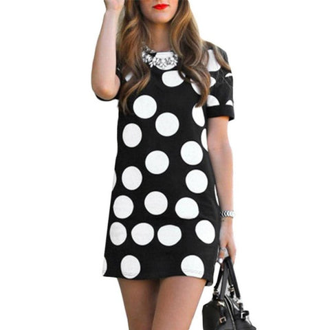 JECKSION 2016 fashion  Sexy Women Summer Polka Dot Printed Short Sleeve Slim Mini Leisure Dresssummer sundresse - galeriachic