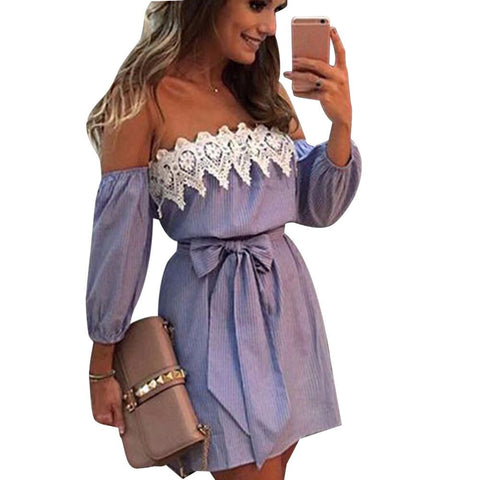 Blue Striped Summer Dress Women - galeriachic