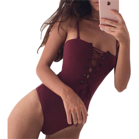 Women Bandage Bodysuits Rompers Lace Up Sexy Women Summer Bodysuit Jumpsuits Femme Casual Beach Sexy Swimsuit Hollow Out GV574 - galeriachic