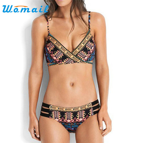 Stylish 2017Women  Push-Up Padded Bra Beach   Set Swimsuit  Swimwear17JUL3