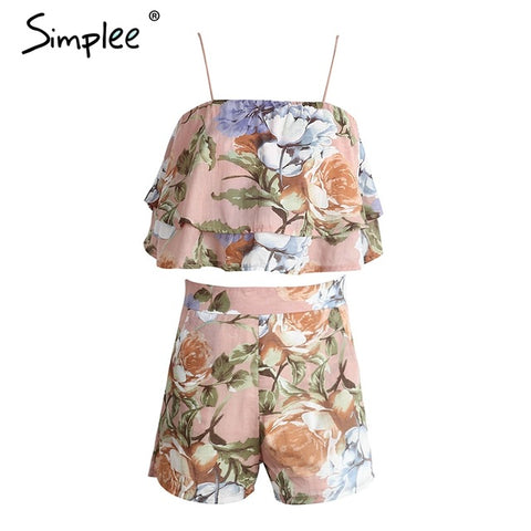 Simplee Off shoulder ruffles print women jumpsuit romper Sexy strap backless