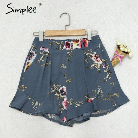 Simplee Casual floral print ruffle shorts Women summer beach drawstring bow belt shorts Pocket zipper streetwear shorts 2017 - galeriachic
