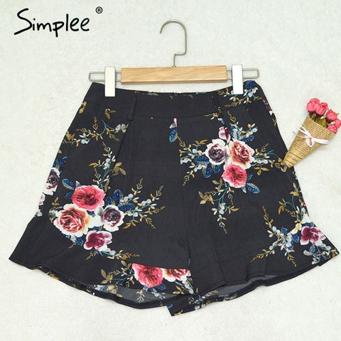 Simplee Casual floral print ruffle shorts Women summer beach drawstring bow belt shorts Pocket zipper streetwear shorts 2017